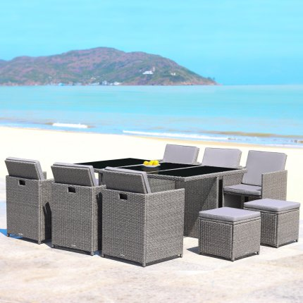 "RedNeck Garden Furniture Set 6 piece seating group ""dining lounge grey"" poly rattan aluminium black glass"
