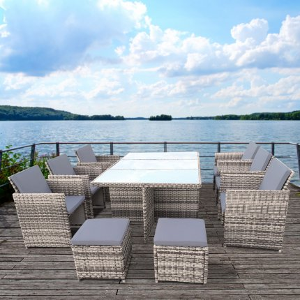 "RedNeck Garden Furniture Set 6 piece seating group ""dining lounge grey"" poly rattan aluminium black glass"