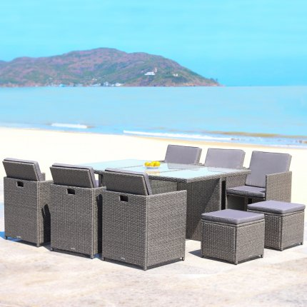 """RedNeck Garden Furniture Set 6 piece seating group """"dining lounge grey"""" poly rattan aluminium frosted glass"""