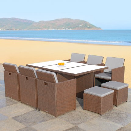 "RedNeck Garden Furniture Set 6 piece seating group ""dining lounge brown"" poly rattan aluminium frosted glass"