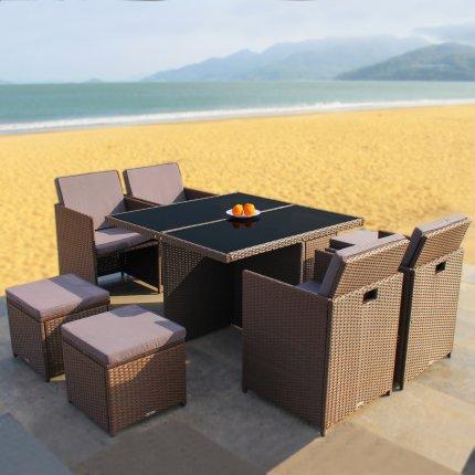 Redneck Garden Furniture Set 4 Piece Seating Group Dining Lounge Brown Poly Rattan Aluminium Black Glass